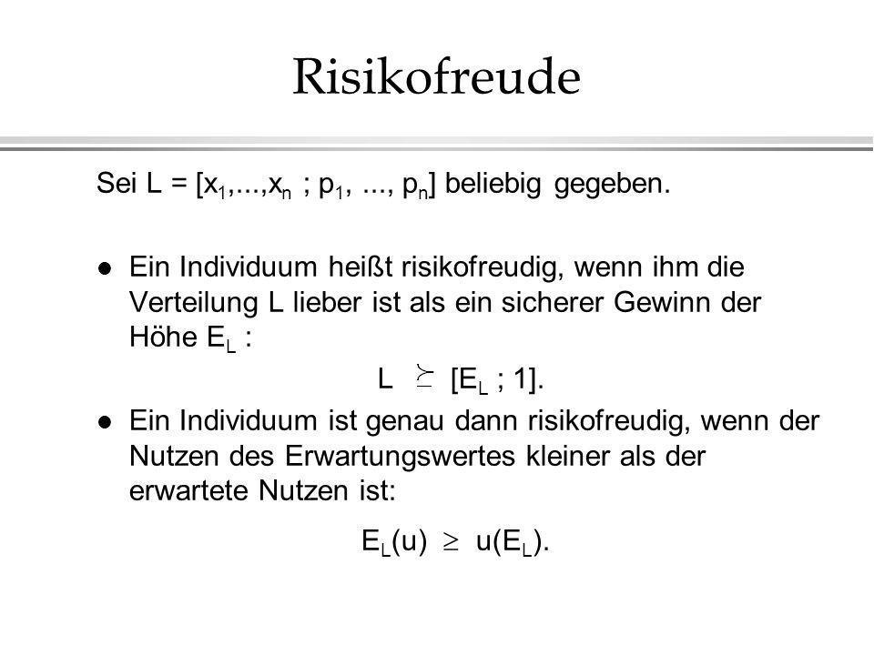 Risikofreude Sei L = [x1,...,xn ; p1, ..., pn] beliebig gegeben.